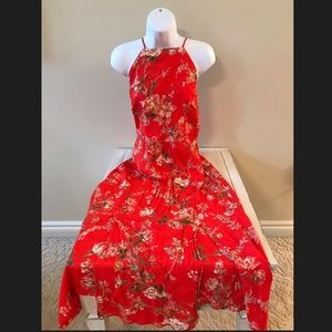 Topshop midi strappy backless Red floral dress